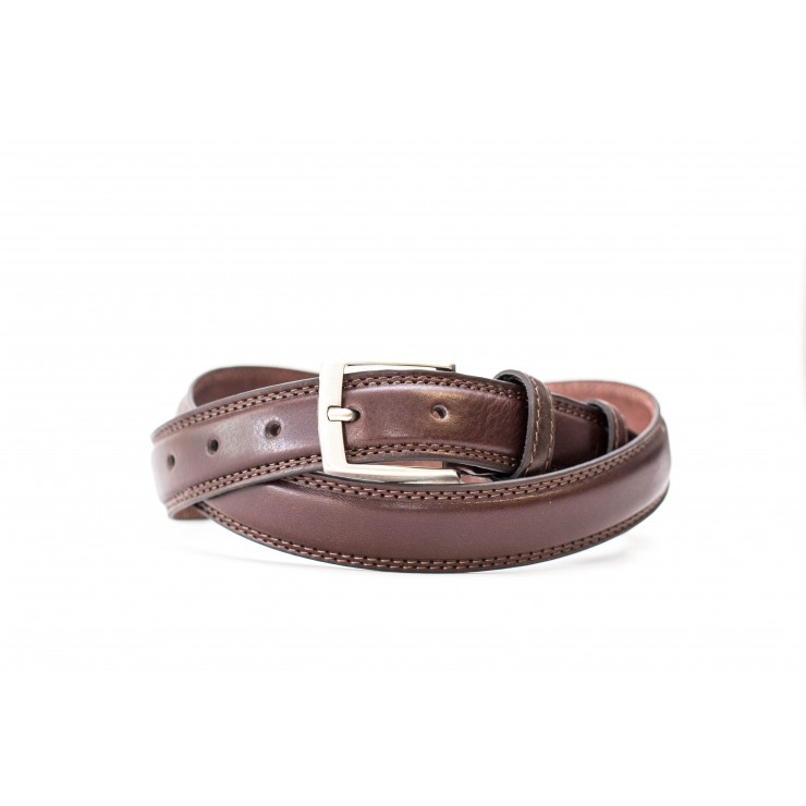 Men belt 1019 dark brown Made in Italy