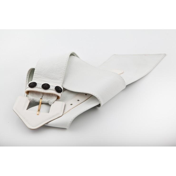 Dámsky kožený opasok 62 biely