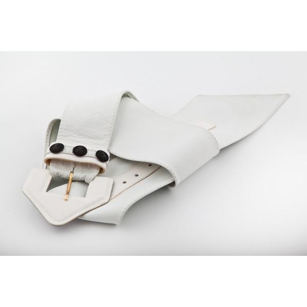 Dámsky kožený opasok 62 biely 90 cm