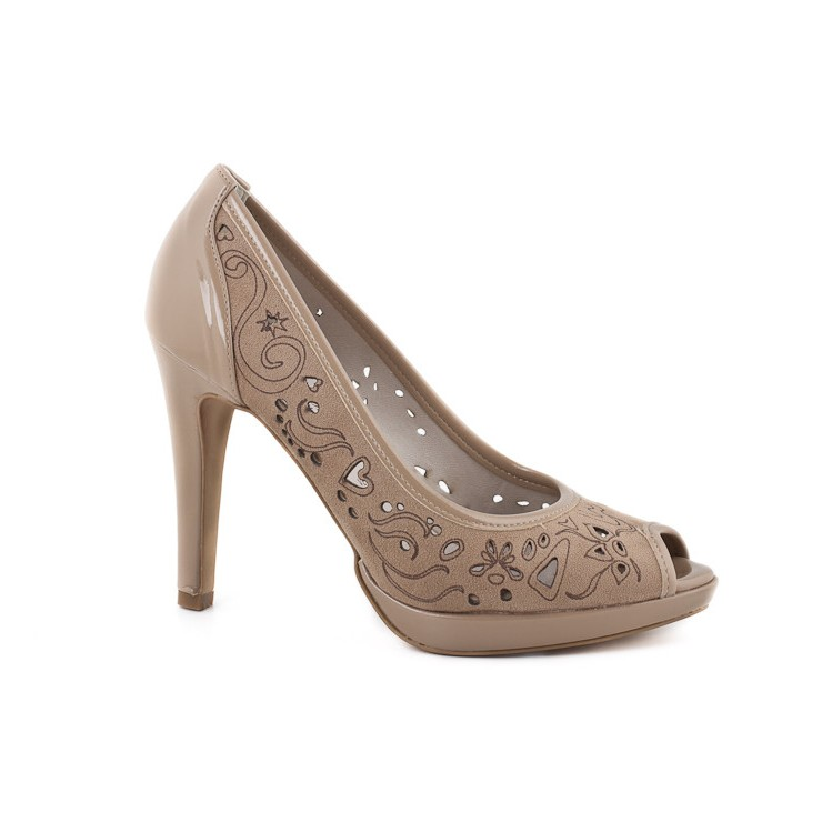 Woman high heels 707 taupe Elisa Morelli