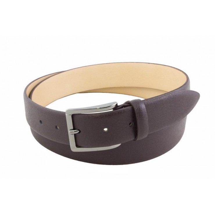 Men leather belt 80 brown Made in Italy