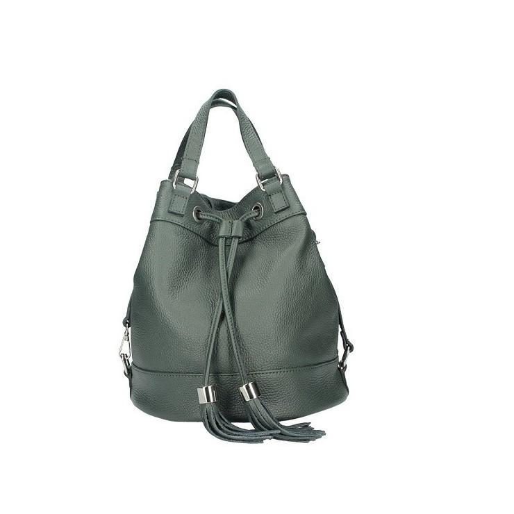 Tmavě zelená kožená kabelka 338