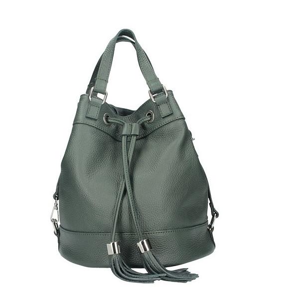 Leather Shoulder Bag 338 dark green