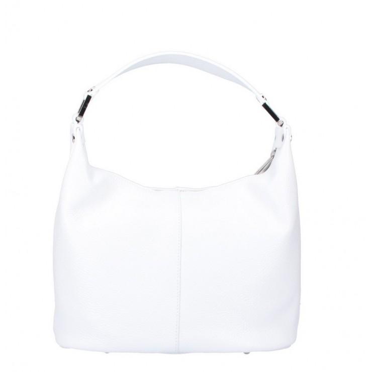 Bílá kožená kabelka na rameno 922 Made in Italy