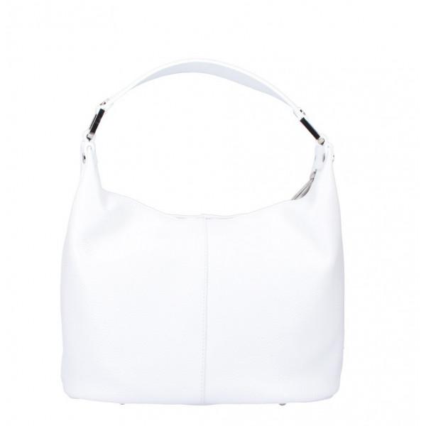 Biela kožená kabelka na rameno 922 Made in Italy