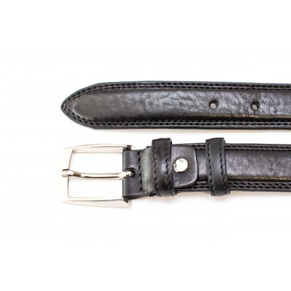 Pánsky kožený opasok 732 čierny Made in Italy Čierna 95/110 cm