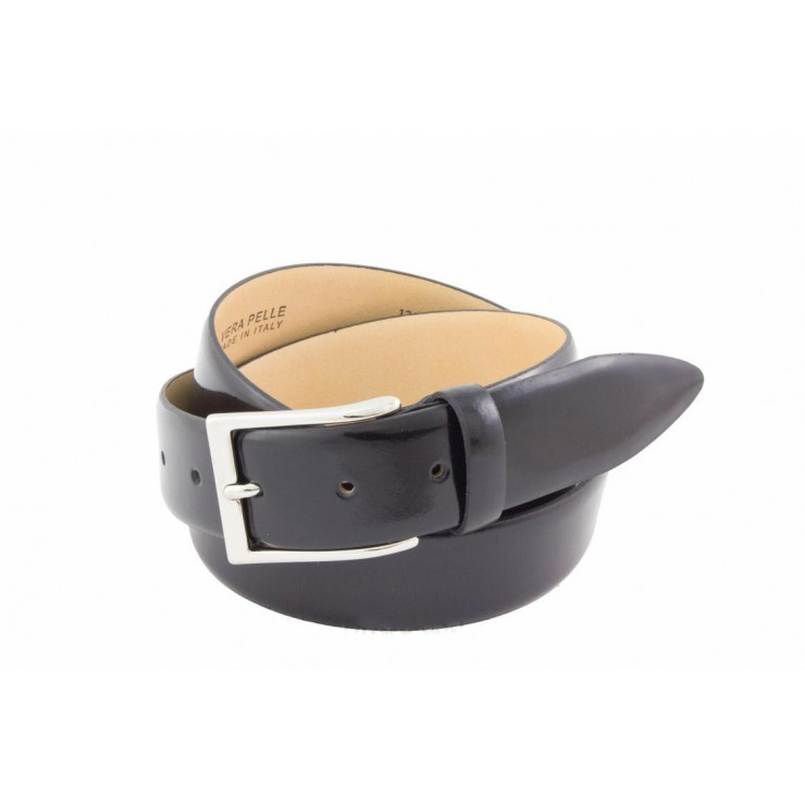 Men leather belt 14220 black Made in Italy