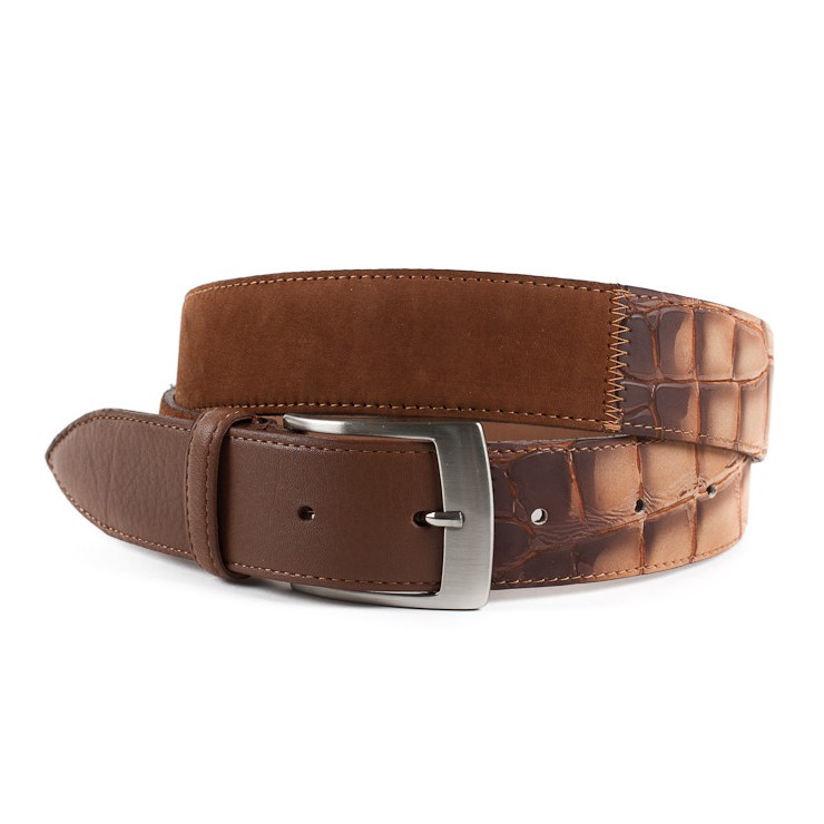 Men leather belt 872 brown Made in Italy