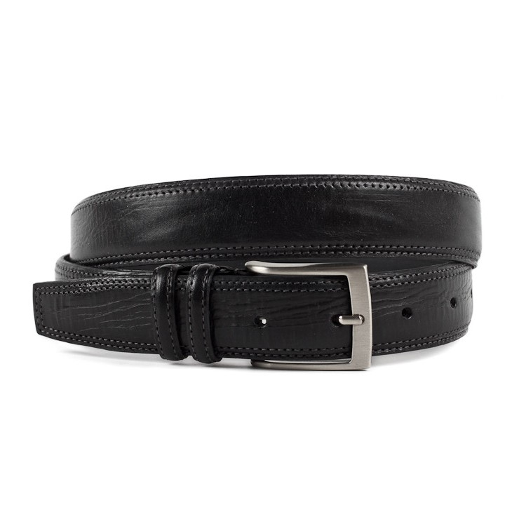 Men leather belt 873 black Made in Italy
