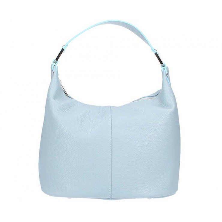 Leather Shoulder Bag 922 light blue Made in Italy