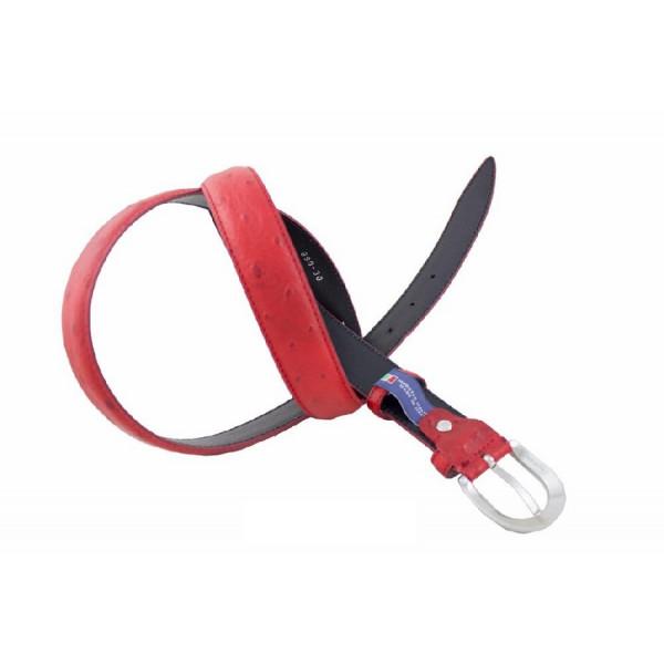 Dámsky kožený opasok 140 červený Made in Italy Červená 105/120 cm