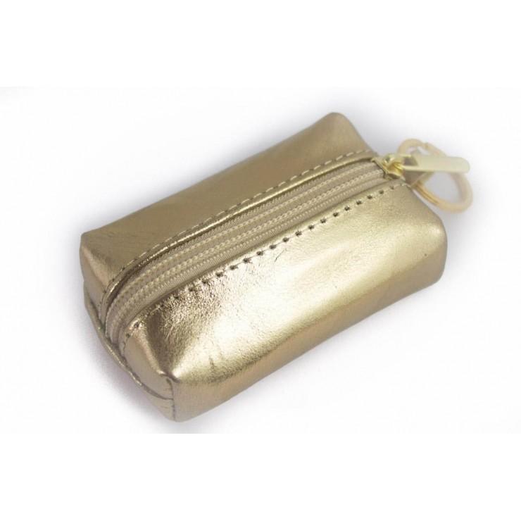 Kožená klíčenka na zips 177 zlatá Made in Italy