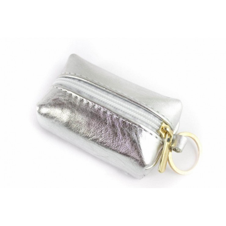 Leather key chains 177 silver Made in Italy