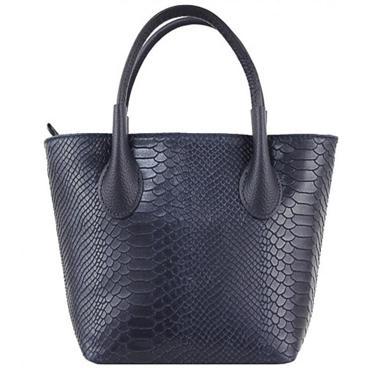Dámska kožená kabelka 437 tmavomodrá Made in Italy