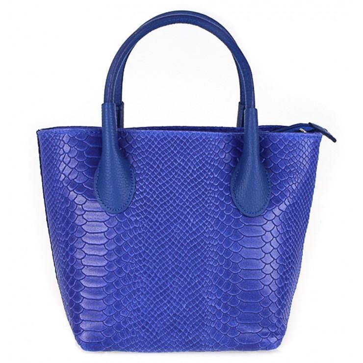 Dámska kožená kabelka 437 azurovo modrá Made in Italy