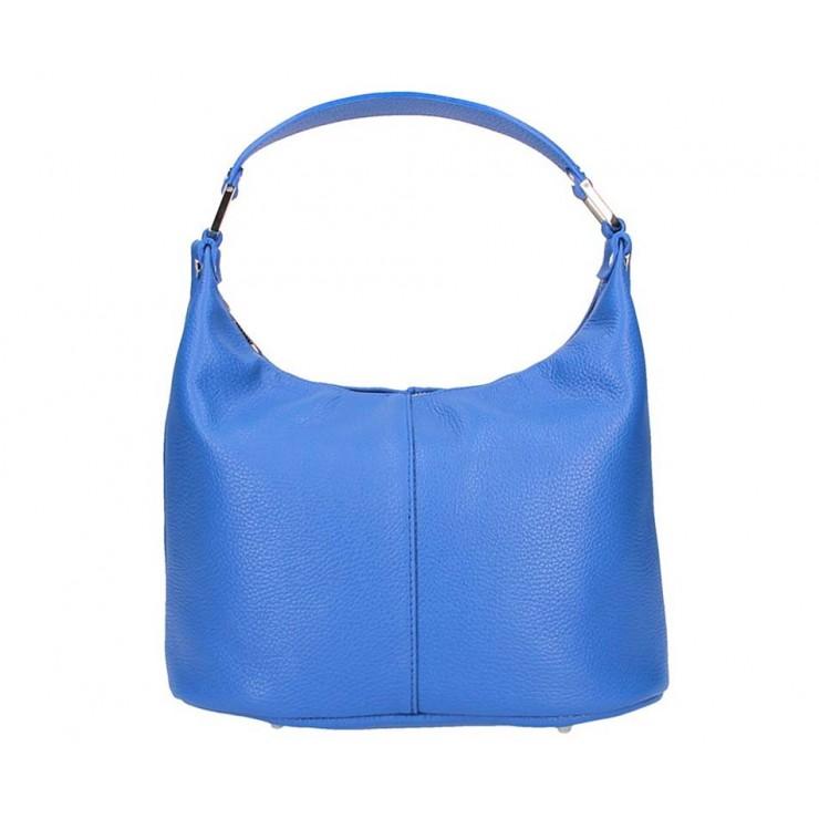 Azurově modrá kožená kabelka na rameno 9011