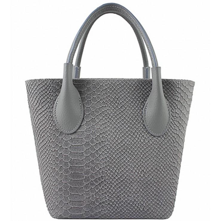 Dámska kožená kabelka 437 šedá Made in Italy