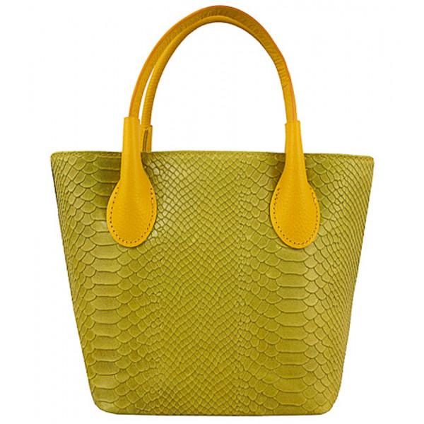 Dámska kožená kabelka 437 okrová Made in Italy Okrová