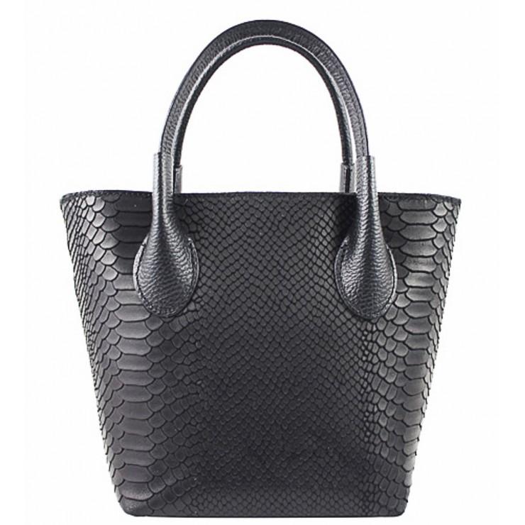 Dámska kožená kabelka 437 čierna Made in Italy