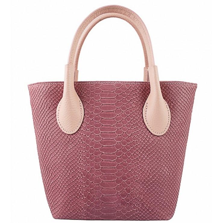 Dámska kožená kabelka 437 ružová Made in Italy
