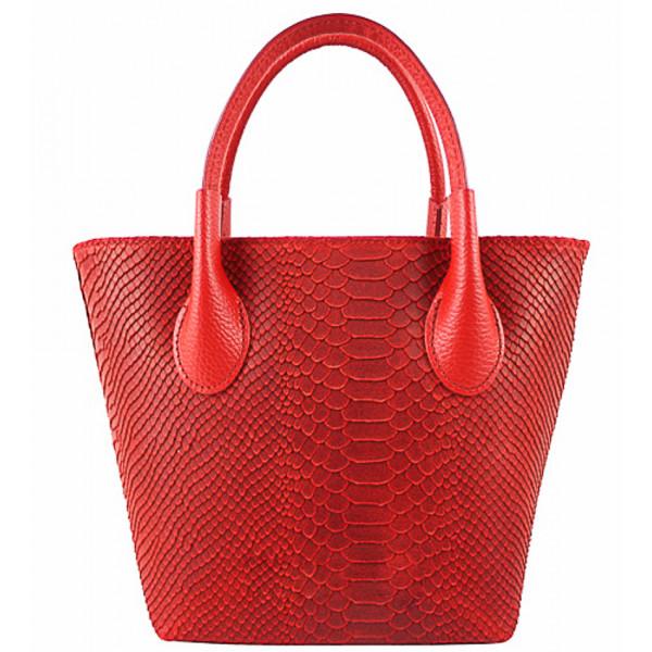 Dámska kožená kabelka 437 červená Made in Italy