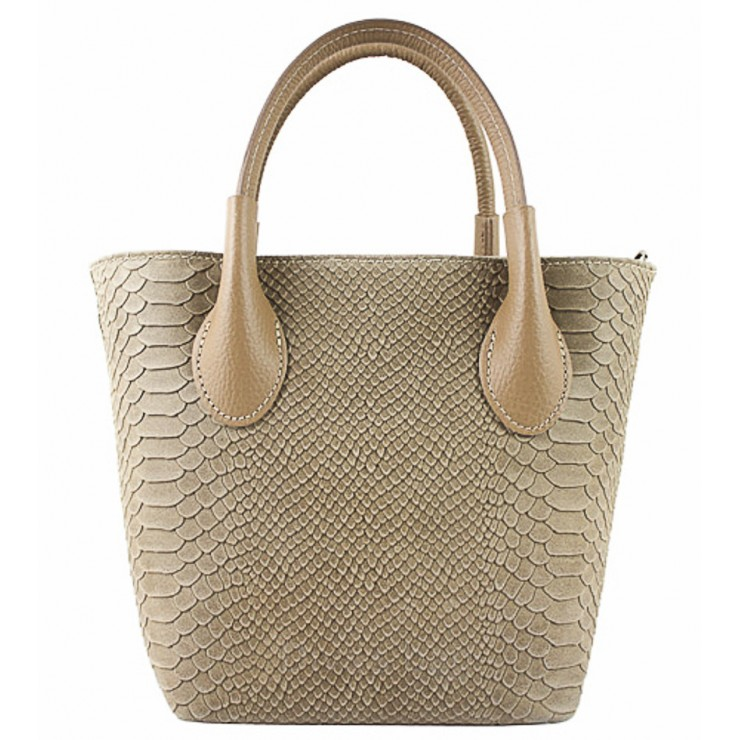 Borsa a mano in vera pelle 437 taupe Made in Italy