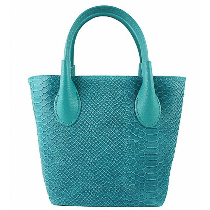 Dámska kožená kabelka 437 tyrkysová Made in Italy