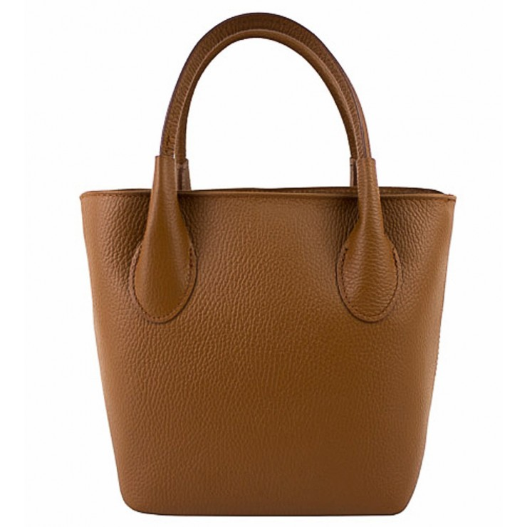 Genuine Leather Handbag 93 cognac Made in Italy
