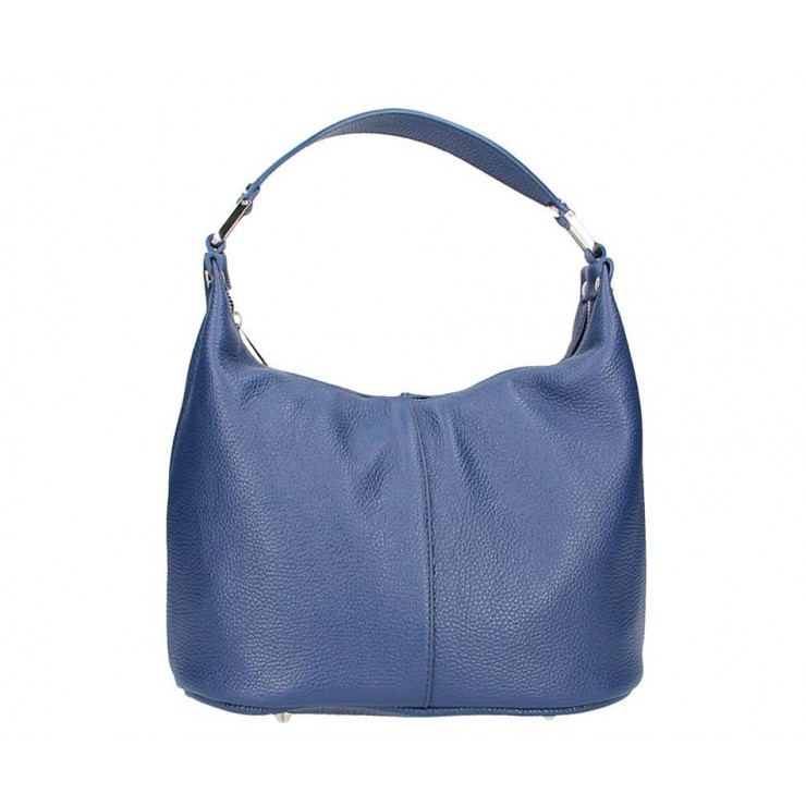 Borsa a spalla in vera pelle 922 blu Made in Italy