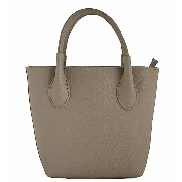 Borsa a mano in vera pelle 93 taupe Made in Italy