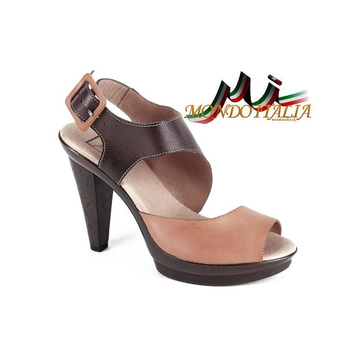 Woman leather sandals 1131 beige Andiamo