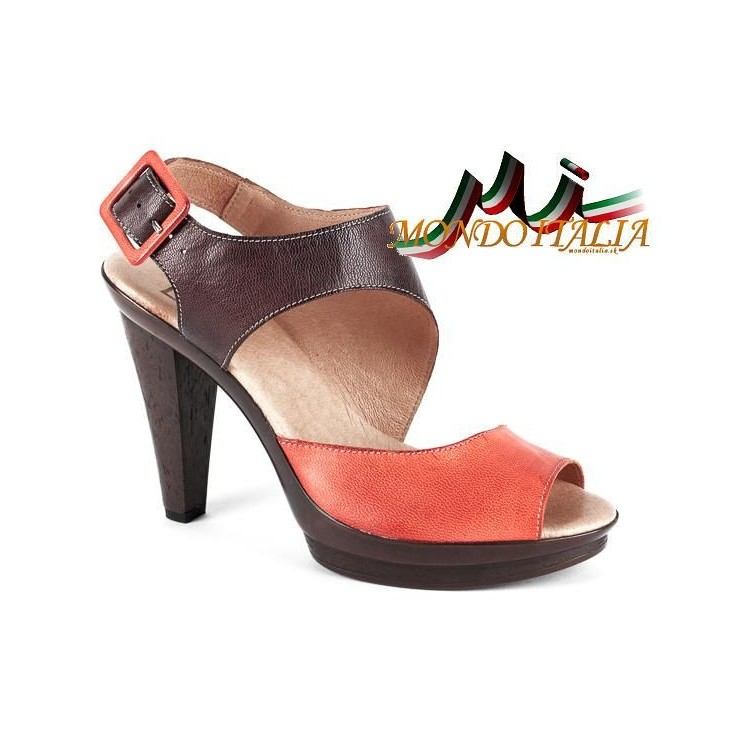 Woman leather sandals 1131 orange Andiamo
