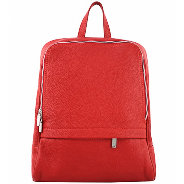 Leather backpack 129 red Made in Italy
