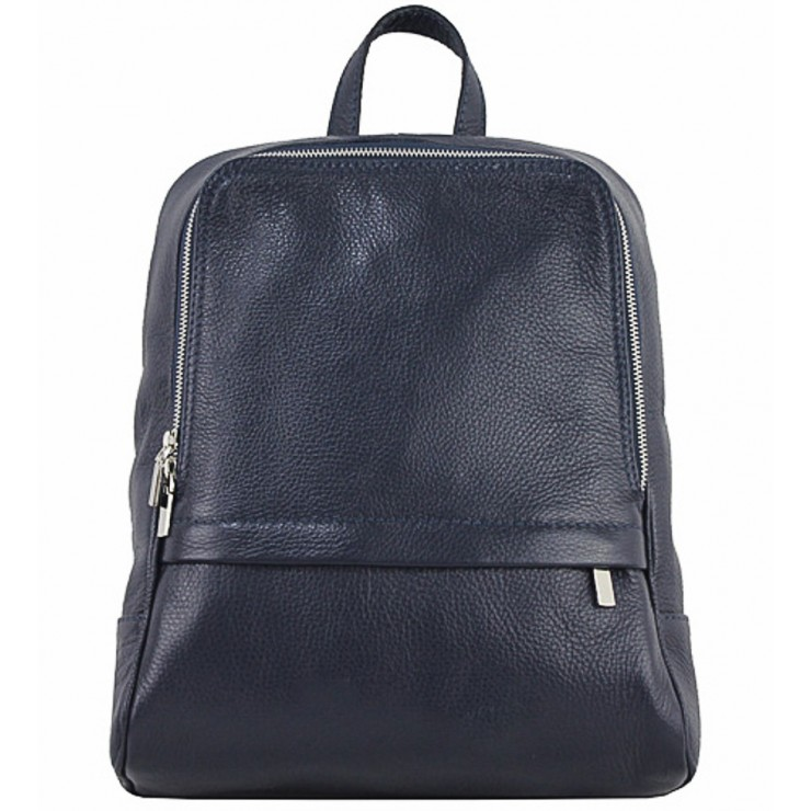 Leather backpack 129 blue Made in Italy