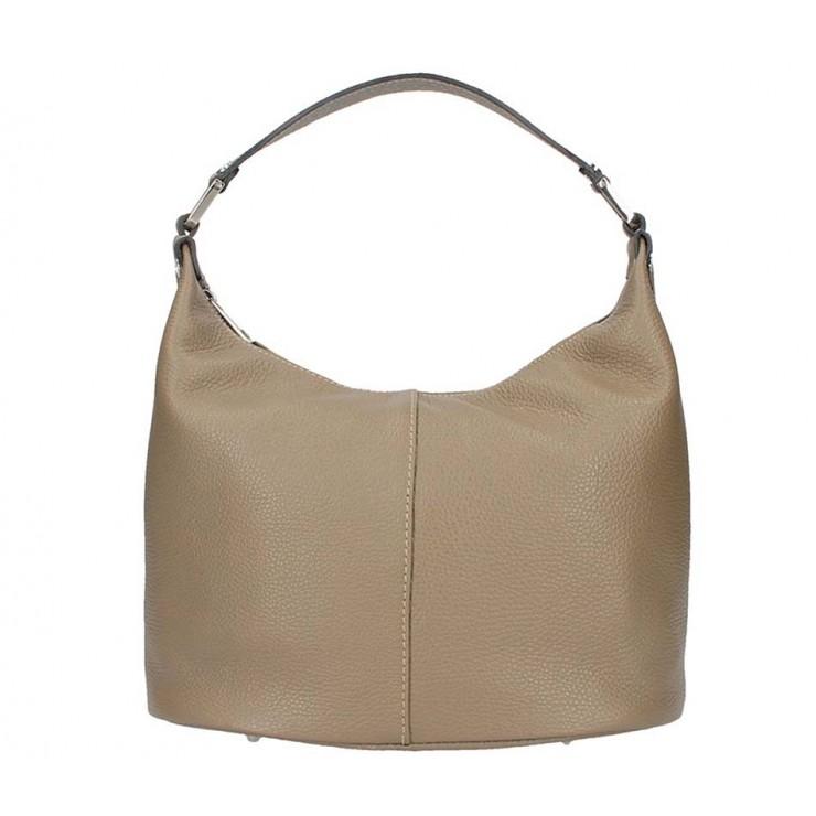 Tmavá šedohnedá kožená kabelka na rameno 922 Made in Italy
