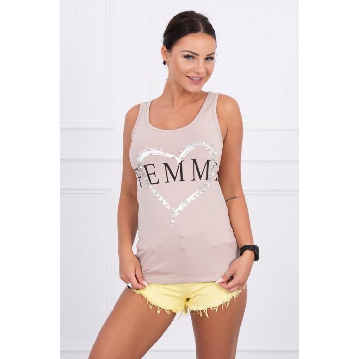 Women's Tank beige Femme