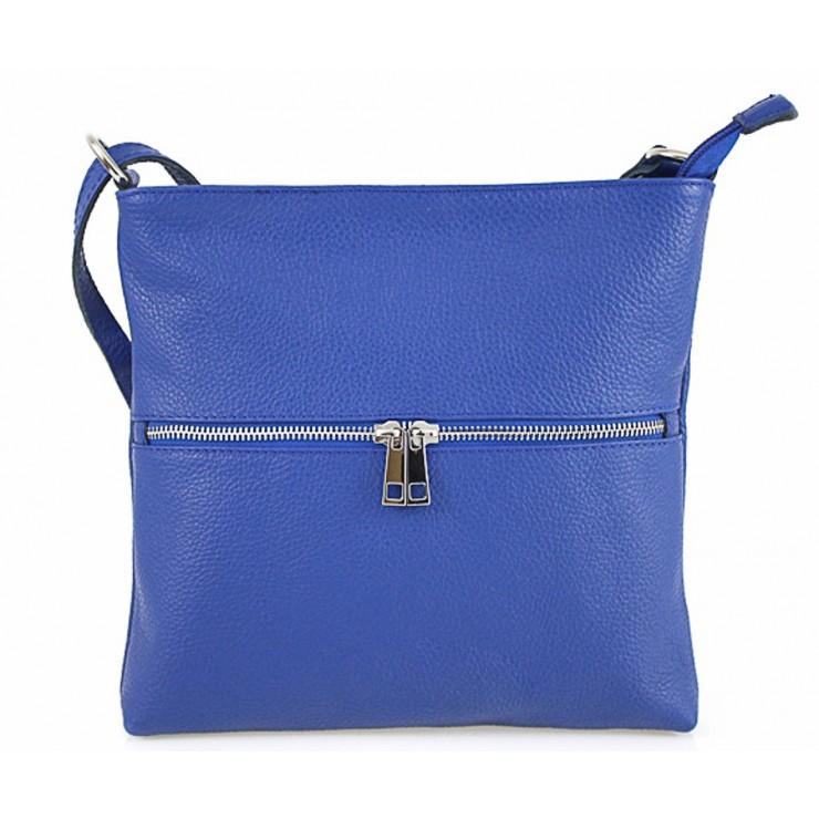 Kožená kabelka na rameno 147 azurovo modrá Made in Italy