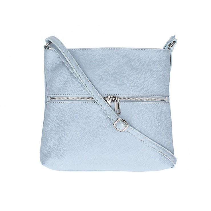 Kožená kabelka na rameno 147 nebesky modrá Made in Italy