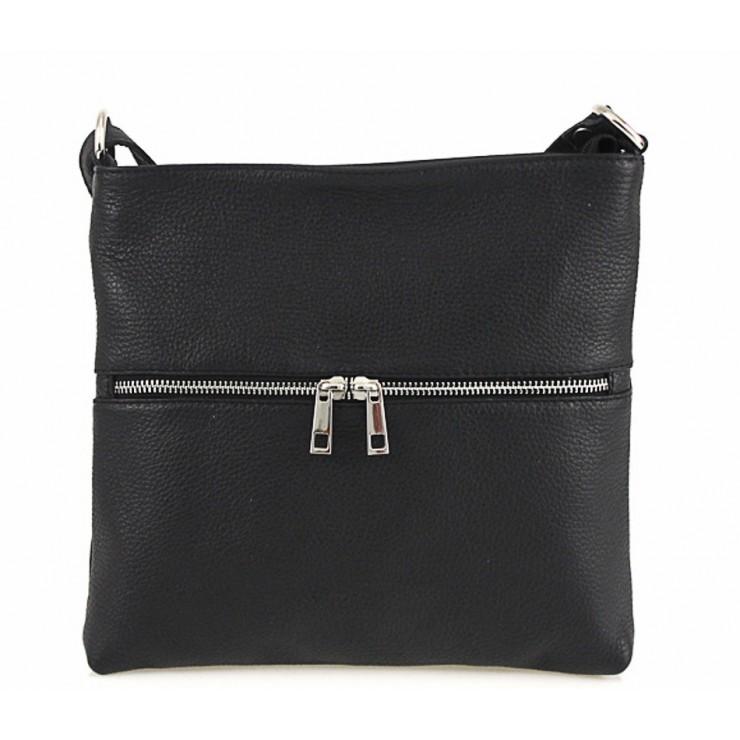 Kožená kabelka na rameno 147 čierna Made in Italy
