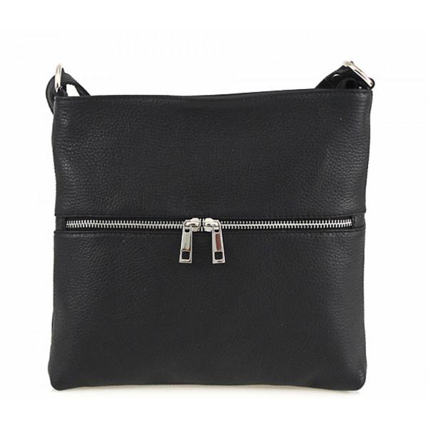 Kožená kabelka na rameno 147 čierna Made in Italy Čierna