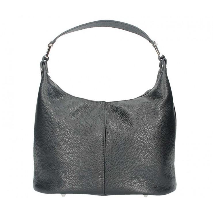 Černá kožená kabelka na rameno 922 Made in Italy