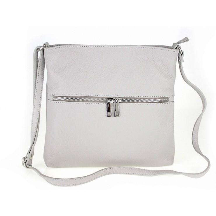 Kožená kabelka na rameno 147 šedá Made in Italy