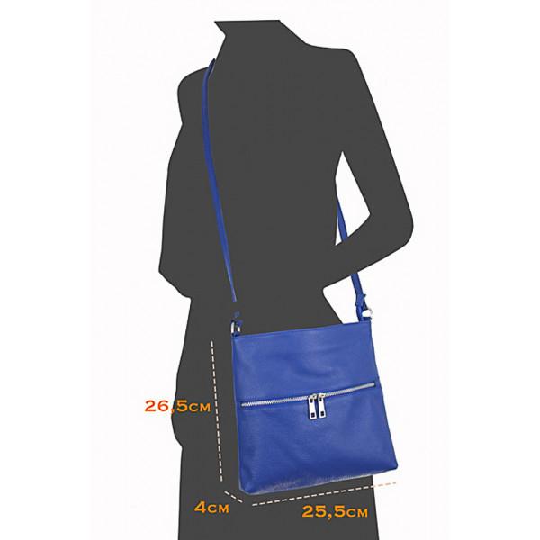 Kožená kabelka na rameno 147 čierno-biela Made in Italy