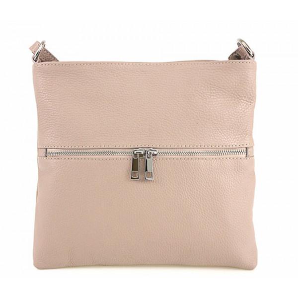 Kožená kabelka na rameno 147 ružová Made in Italy Ružová