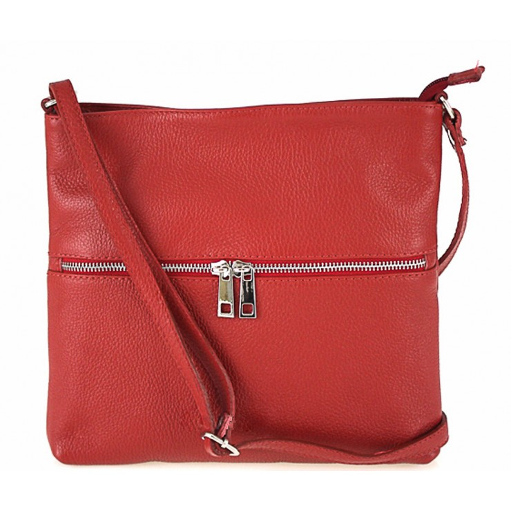 Kožená kabelka na rameno 147 rudá Made in Italy