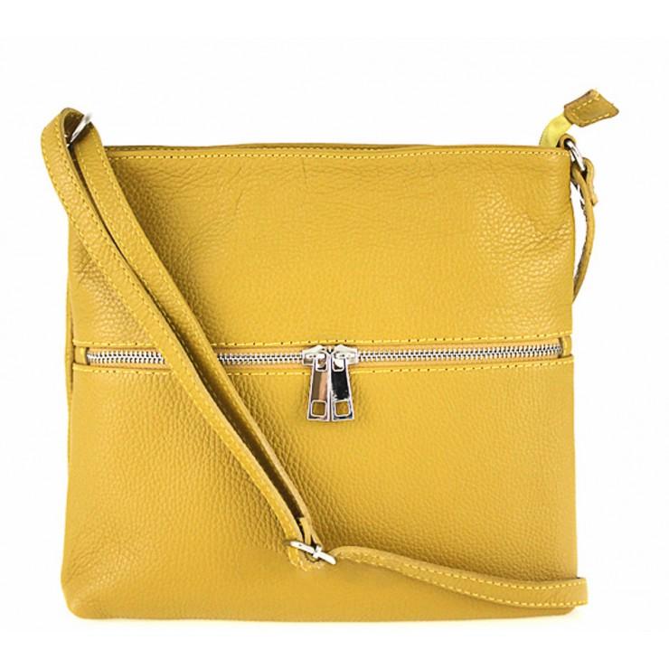 Genuine Leather Handbag 147 mustard Made in Italy