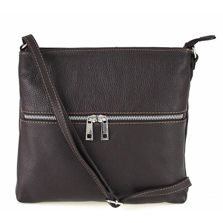 Kožená kabelka na rameno 147 tmavohnedá Made in Italy