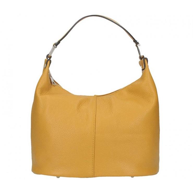 Okrová kožená kabelka na rameno 9011