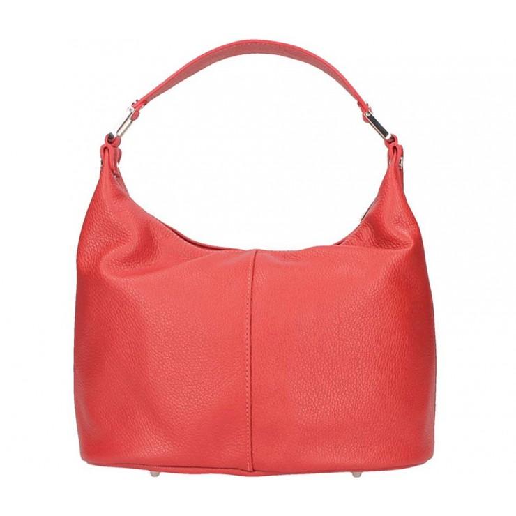 Červená kožená kabelka na rameno 922 Made in Italy
