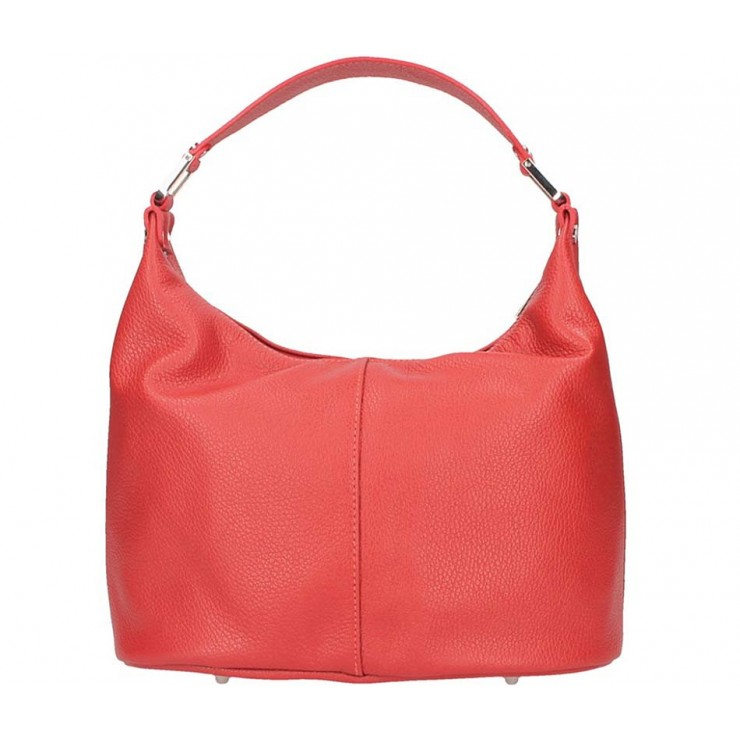 Rudá kožená kabelka na rameno 922 Made in Italy